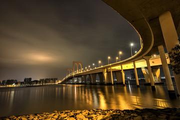 Bridge to Taipa in Macao at night
