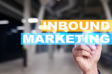 Inbound marketing text on virtual screen. Business and technology concept.