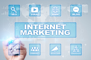 Internet (online, digital) marketing concept. SEO. Business and technology.
