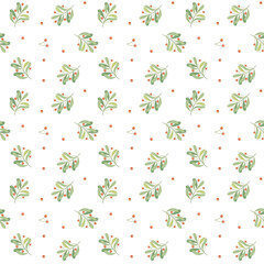 Seamless vector pattern with mistletoe. Mistletoe berries and leaves. vector Illustration