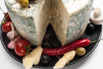 food photography art. gourmet blue cheese vegetables assortment mix concept