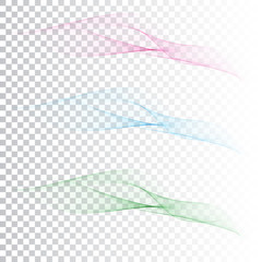 set of abstract color wave smoke transparent blue pink green wavy design purple.