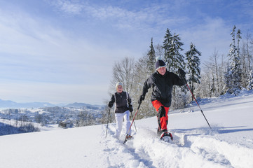auf Tour mit Schneeschuhen