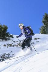 offpiste unterwegs beim Skifahren