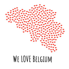Belgium Map with red hearts - symbol of love. abstract background