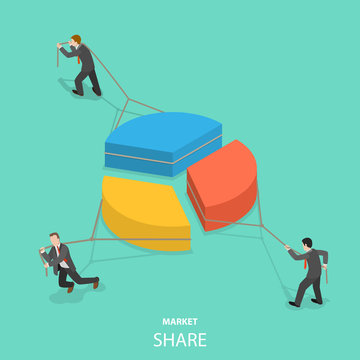 Market share flat isometric vector concept. Businessmen are competing by pulling parts of the pie chart each to itself side.