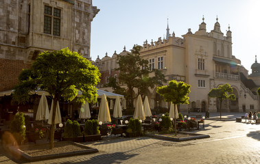 Town hall and cloth hall on Main Square in Krakow, Poland