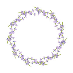 Vector lavender wreath. Provencal style. Vintage border frame, retro ornament pattern with lavender flowers. Text place. Design for greeting card, packaging, wedding card, cosmetics, organic products.