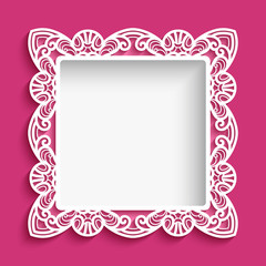 Square frame with cutout lace pattern