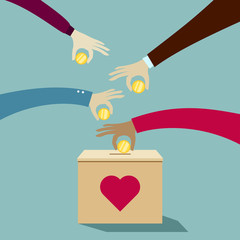 Hands putting coins into donation box: Donate money charity concept