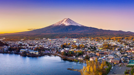 Wall Mural - Fuji mountain and Kawaguchiko lake at sunset, Autumn seasons Fuji mountain at yamanachi in Japan.