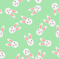Cute white rabbit seamless pattern vector on green mint background.