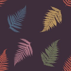 Ferns. Seamless pattern. Ferns of different colors on a dark background. Vector illustration.