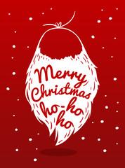 Christmas card with a beard Santa Claus. Vector