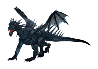 3D Rendering Black Dragon on White