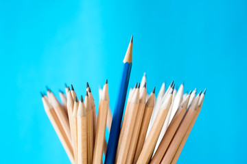 Pencils isolated on blue backgroun