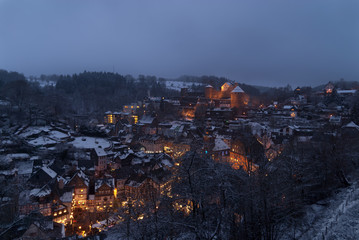 Monschau, Germany, during Christmas time at dusk