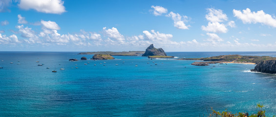 Panoramic aerial view of Porto de Santo Antonio (Santo Antonio Port) and secondary islands  - Fernando de Noronha, Pernambuco, Brazil