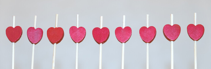 a row of red hearts