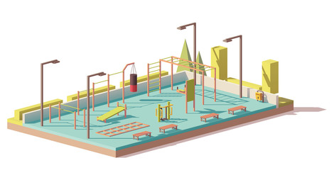 Vector low poly street fitness gym