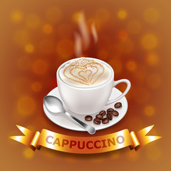 cappuccino on coffee-colored background with gold ribbon