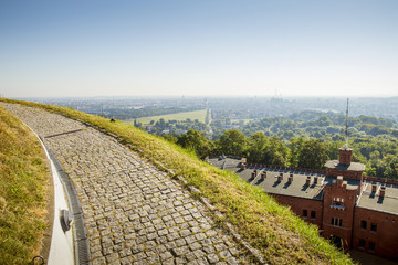 Panorama of Krakow city from Kosciuszko Mound