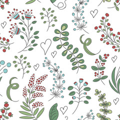Seamless abstract floral background, hand draw