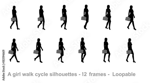 Business girl walk cycle animation sprite sheet, Women walk cycle ...