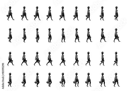 shopping girl walk cycle, Animation sprite sheet, sprites