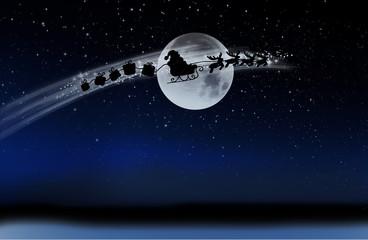 Wall Mural - Weihnachtsmann mit Schlitten