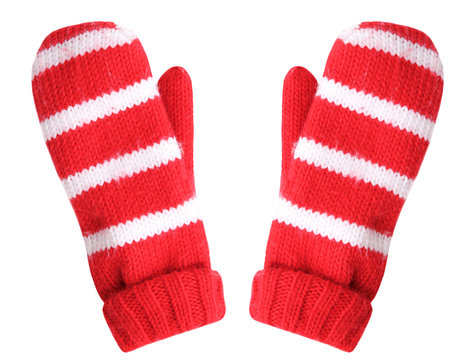 Red christmas gloves isolated.Holiday decoration objects.