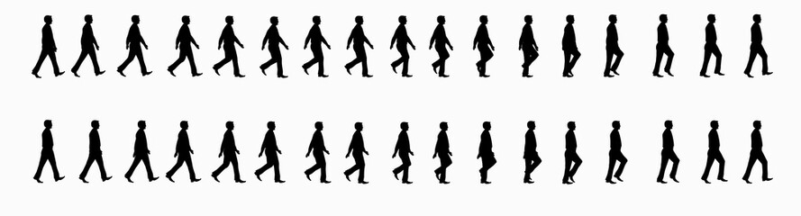 business man walk cycle sprite sheet, Animation frames, silhouette, Loop Animation