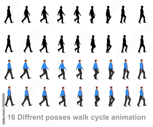 business man walk cycle sprite sheet, Animation frames, silhouette ...