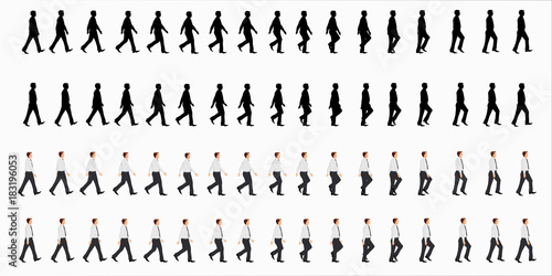business man walk cycle sprite sheet, Animation frames, silhouette