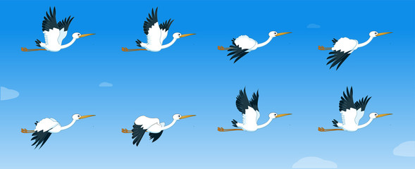 storks Flying Animation sprite sheet, Animation, Bird flying animation frames,  Silhouette