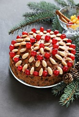 Dundee cake. Traditional Scottish Christmas cake. Festive Christmas dessert.