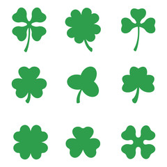 Set of three and four leaf clovers. Vector icon. St Patricks day. Clover silhouette.