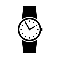 Wristwatch icon. Round shape classic watch on leather band. Vector Illustration