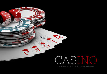 Casino Poker Chips. Casino Games, 3D Illustration