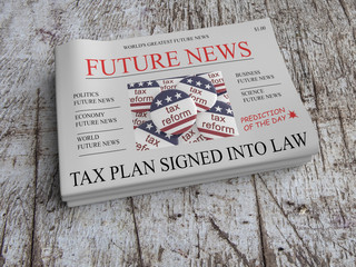 Future News US Tax Reform Newspaper Concept: Vision - USA Tax Plan Signed Into Law, 3d illustration