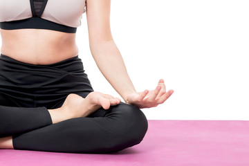 Woman practicing yoga isolated on white background