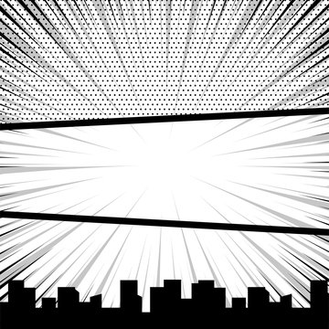 Comics book monochrome template background. Speech bubble balloon. Pop art black white empty backdrop mock up. Vector illustration halftone dot mockup for comic text. Silhouette city boom explosion.