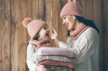 Winter portrait of family