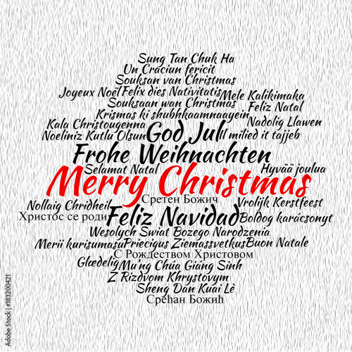 Merry Christmas Different Languages.Merry Christmas In Different Languages Stock Photo And