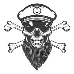 bearded sea captain skull with crossbones. Design element for emblem, sign, label, poster. Vector illustration