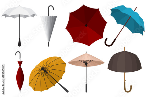 40e808e4a Umbrellas set: for protection from rain and sun, Chinese, red, white, blue,  yellow, top view, open and close. Vector collection of flat icons isolated  on ...