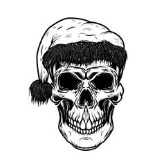 Santa claus skull. Design element for poster, card, t shirt. Vector illustration