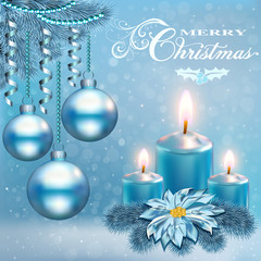 Illustration of a Christmas card with a candle balls and a flower