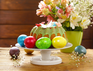 Easter symbols food - Easter cake and painted eggs
