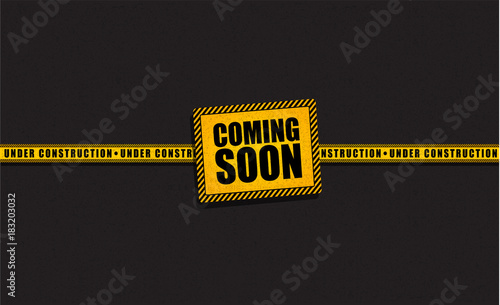 coming soon and under construction trendy yellow banner template